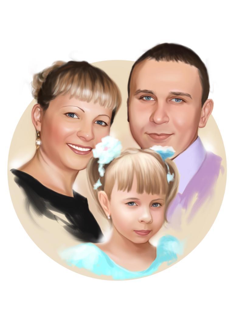 Семейный портрет по фото на холсте в Ижевске — правильный подарок!