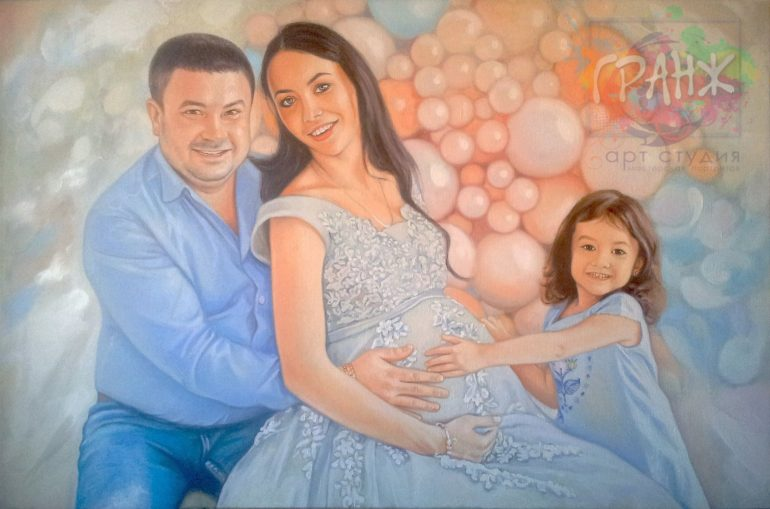Заказать семейный портрет по фото маслом на холсте